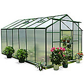 Nison EaZi-Click 12X8 Aluminium Polycarbonate Greenhouse in Dark Green including Base
