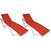 x 2 Sun Lounger Cushions - Red - Fits most Loungers Inc Resol Master/Marina