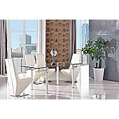 Verona Glass and Aluminium 120 - 180 cm Dining Table with 4 Ivory Rita Chairs