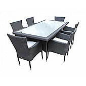 Cambridge 6 Non-Reclining Chairs And Large Rectangular Table Set in Black and Vanilla