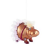 Hippo in a Tutu Glass Christmas Tree Bauble Decoration
