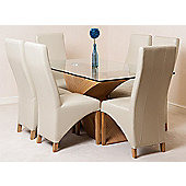 Valencia Glass & Oak 160 cm Dining Table with 6 Ivory Lola Leather Chairs