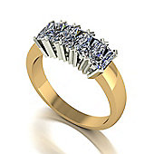 18ct Gold 5 Stone Radiant Cut Moissanite Ring