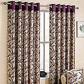 Homescapes Contemporary Mulberry Faux Silk Curtain Pair Floral Flock Design 66x54""