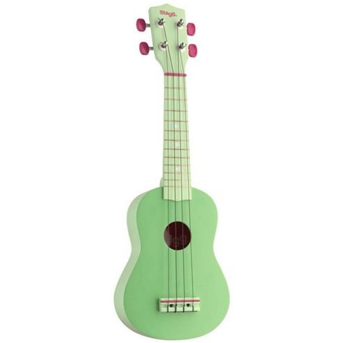 Stagg USGRASS Soprano Ukulele with Carry Case Green