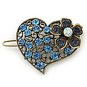 Vintage Inspired Sky Blue and AB Crystal 'Heart' Hair Slide In Antique Gold Metal - 35mm Across