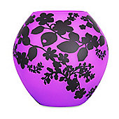 Balla Frosted Floral Filigree Design Glass Ball Table Lamp in Purple with Black Pattern