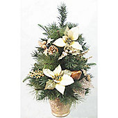 60cm Cream Poinsettia Christmas Tree with Gilded Berries and Cones