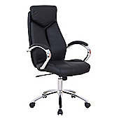 Fully Adjustable Padded Desk Swivel Office Chair - Black Faux Leather