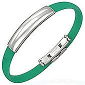 Urban Male Men's Stainless Steel & Green Rubber Bangle