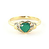 QP Jewellers Diamond & Emerald Halo Heart Ring in 14K Gold