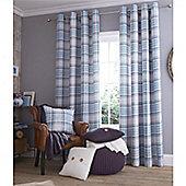 Catherine Lansfield Twill Check Duckegg Curtains 66x54