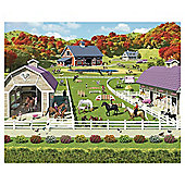 Horse and Pony Stables Wallpaper Mural 8ft x 10ft.