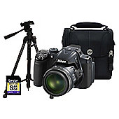 Nikon Coolpix P520 Silver Camera Kit inc 8GB SD Card, Case and Medium Tripod