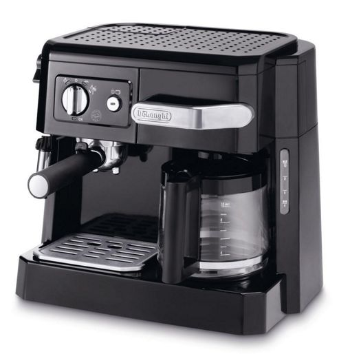 DeLonghi Front Loading 15-Bar Combi Coffee Machine in Black and Silver