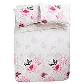 Tesco Sahara Floral Duvet Cover And Pillowcase Set, - Pink