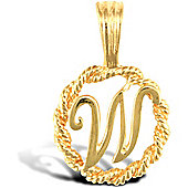 Jewelco London 9ct Gold Rope Initial ID Personal Pendant, Letter W - 0.9g