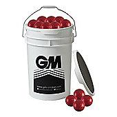 60 x Gunn & Moore Bowling Machine Balls in a Bucket