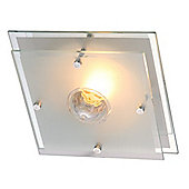 Home Essence Malaga 1 Light Flush Ceiling Light in Chrome and Satin Nickel