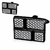 Urban Male Black Rectangular Stainless Steel & Grey Carbon Fibre Cufflinks