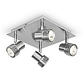 Modern Four Way Square Ceiling Spotlight in Brushed Chrome