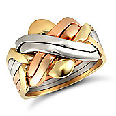 9ct Yellow,white & rose Gold hand assembled 6 Piece Puzzle Ring