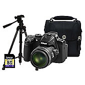 Nikon Coolpix P520 Black Camera Kit inc 8GB SD Card, Case and Medium Tripod