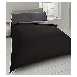 Tesco Basic Reversible Double Duvet Set, Black/Shadow