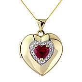 9ct Gold Heart Shaped Locket Pendant Set with a Heart Shaped Created Ruby and White Cubic Zirconia complete with Chain