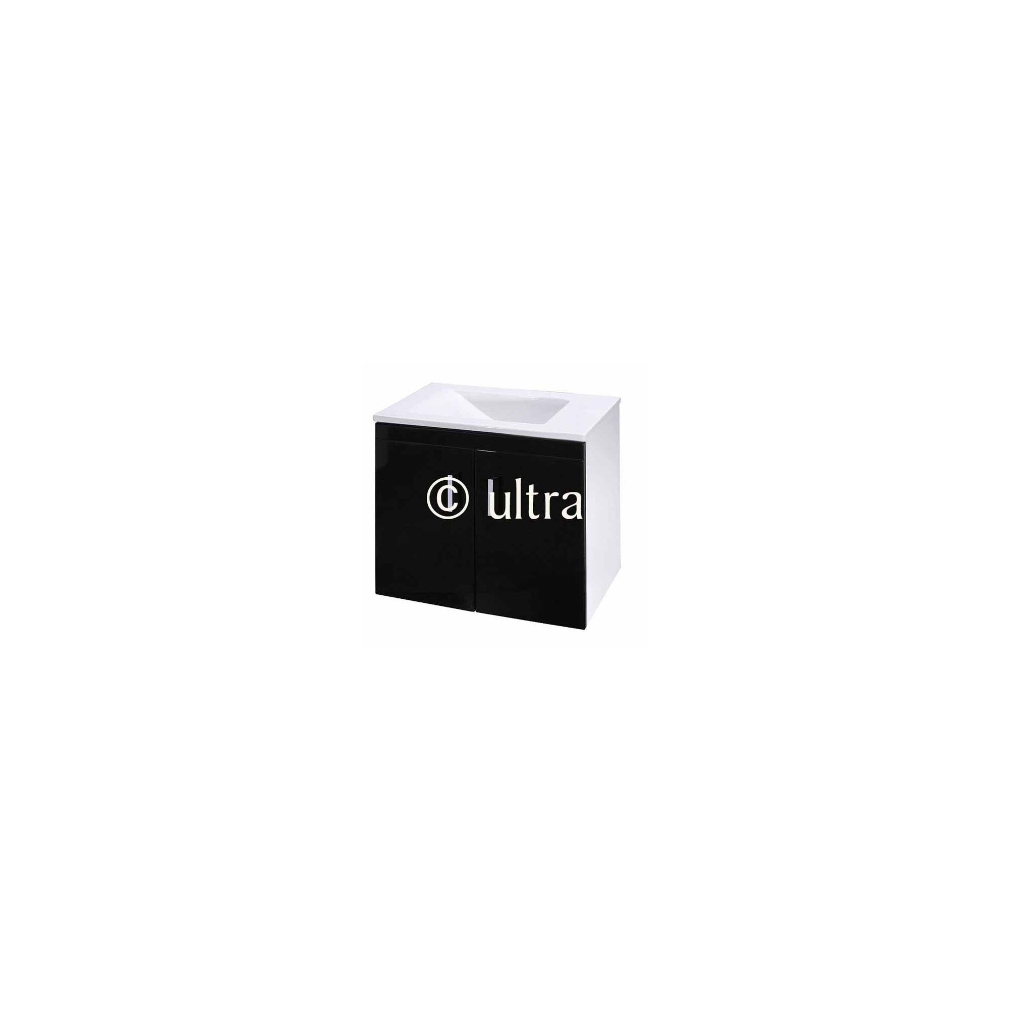 Ultra Liberty Black Wall Mounted 2 Door Vanity Unit and Basin 450mm High x 550mm Wide