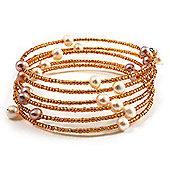 Glass Beaded Freshwater Pearl Charm Wrap Bangle Bracelet (6mm)