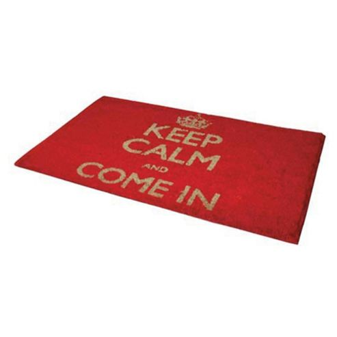 Tesco Keep Calm And Come In -  PVC Coir Mat Red