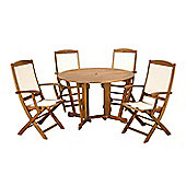 Henley 5pc Gateleg Dining Set - Henley Round 120cm Table with 4 Henley Highback Armchairs