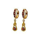 QP Jewellers 1.30ct Garnet Loop Knot Huggie Earrings in 14K Rose Gold