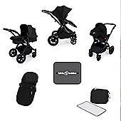 Ickle Bubba Stomp v3 AIO Travel System, Mosquito Net & Cup Holder - Black (Black Chassis)