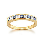 Gemondo Yellow 9ct Gold 0.40ct Natural Sapphire & Diamond Half Eternity Band Ring