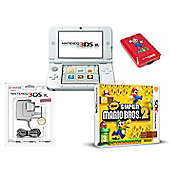"""3DSXL WHITE (NEW SUPER MARIO BROS 2, ADAPTOR AND CASE)"""