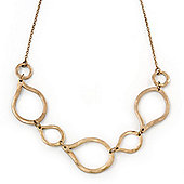 Burn Gold Hammered Teardrop Shape Link Necklace - 32cm Length/ 8cm Extension