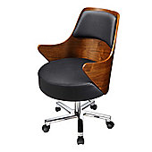 JF401 Luxurious Walnut and Black Leather Chair