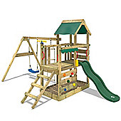 Wooden Climbing Frame Wickey TurboFlyer With Green Slide