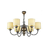 Traditional Bronze Pendant Ceiling Light with Cream Shades