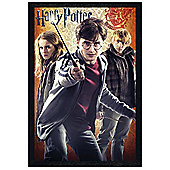 Harry Potter and The Deathly Hallows Black Wooden Framed Hermione, Harry & Ron Poster