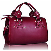 Designer Burgundy Purple Studded Barrel Tote Fashion Handbag