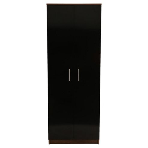 Jazz 2 Door Wardrobe, Walnut/Black Gloss