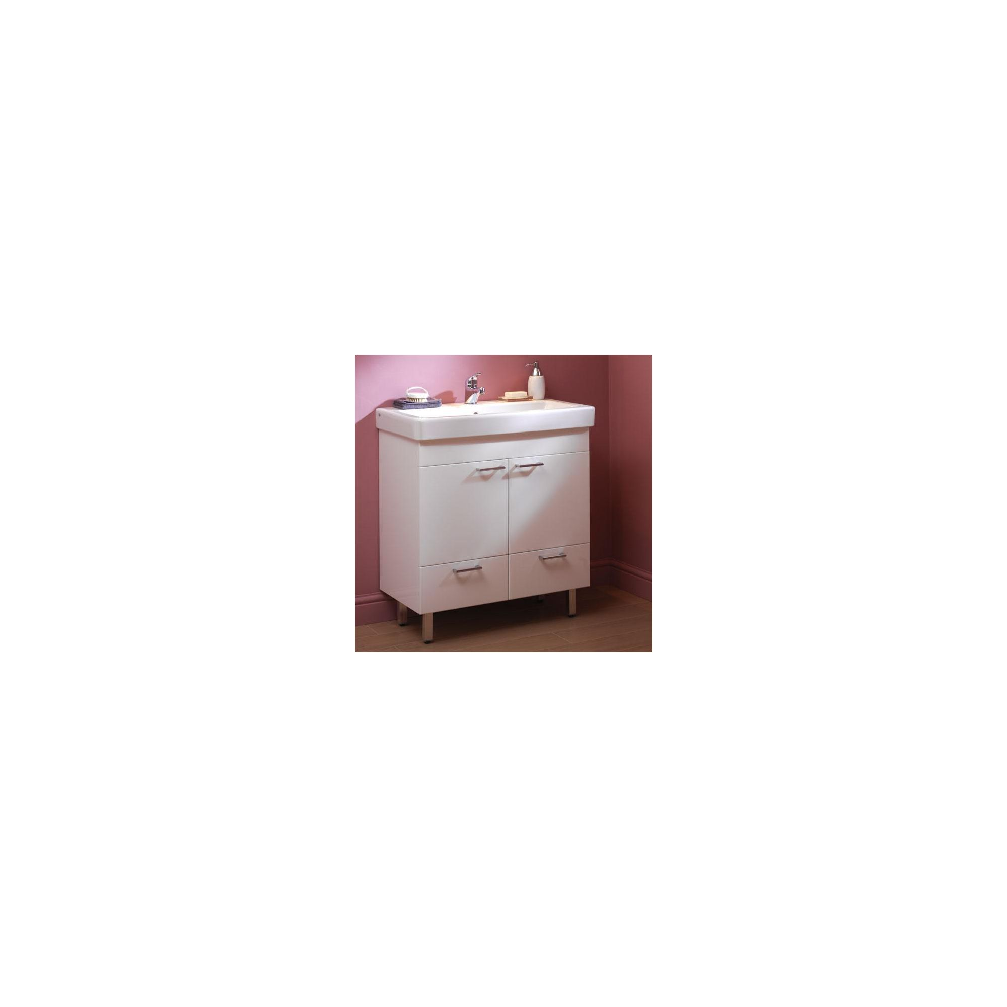 Duchy Trerise White Floor Standing 2 Door 2 Drawer Vanity Unit and Basin - 800mm Wide x 445mm Deep