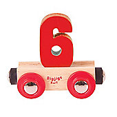 Bigjigs Rail Rail Name Number 6 (Red)