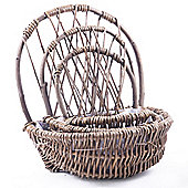 Set of Three Woven Wicker Garden Planters