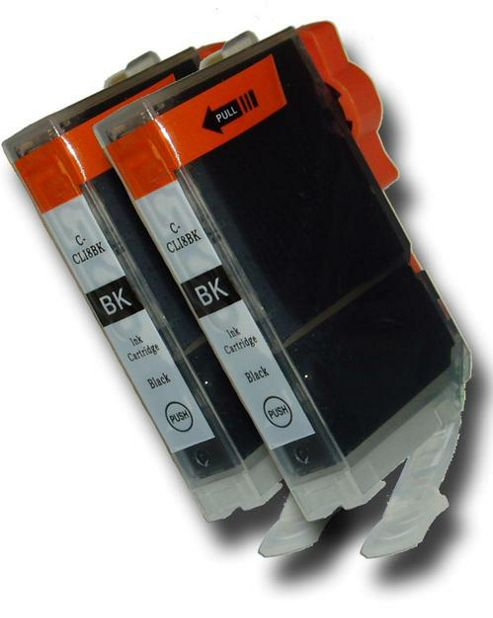 2 Chipped Compatible Canon CLI-8 Bk Black Ink Cartridges