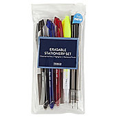 Tesco Erasable Stationery Set In Clear Pencil Case, 6-Piece