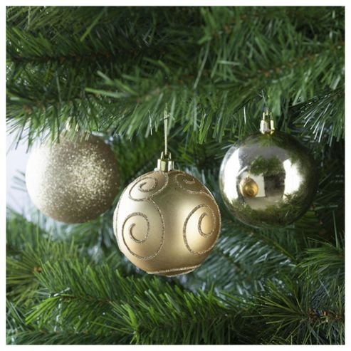 Festive Gold Baubles, 6 Pack